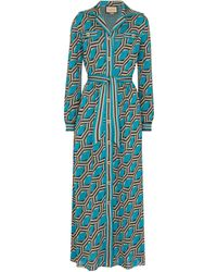 Gucci Lamé Jacquard Shirt Dress - Blue