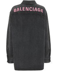 Balenciaga Logo Oversized Denim Jacket - Black