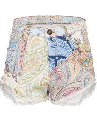 Etro Short en jean à motif cachemire - Multicolore
