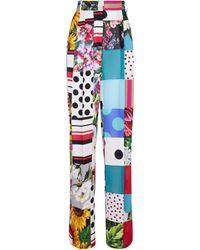 Dolce & Gabbana Pantalon imprimé à taille haute en crêpe de soie - Multicolore