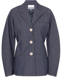 Ganni Pinstriped Blazer - Blue
