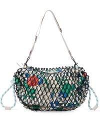 Ganni Fishnet Floral Shoulder Bag - Green