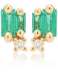 Suzanne Kalan Aretes Fireworks de oro de 18 ct con esmeraldas - Verde