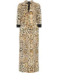 Prada Vestido de sablé estampado - Metálico