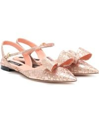 Rochas Ballerines en brocart - Rose