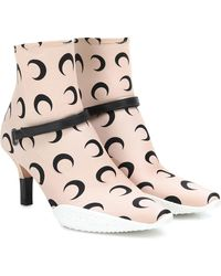 Marine Serre 50mm Moon Print Neoprene Boots - Natural