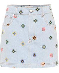 Kirin Minifalda de jeans estampada - Azul