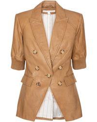 Veronica Beard Edra Dickey Leather Blazer - Multicolour