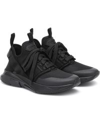 Tom Ford Jago Leather And Mesh Sneakers - Black