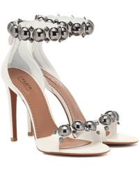 Alaïa White Metal Bombe Sandals
