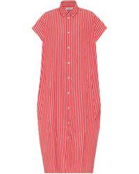 Balenciaga Vestido camisero de algodón - Rojo