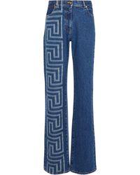 Versace Bedruckte High-Rise Jeans - Blau