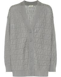 Fendi Cotton-blend Cardigan - Gray