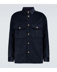 Loewe Hemdjacke aus Baumwollcord - Blau