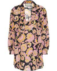 Gucci Blusa de lino floral - Multicolor