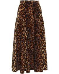 Norma Kamali Grace Leopard-print Midi Skirt - Brown