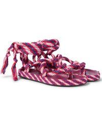 Isabel Marant Erol Lace-up Thong Sandals - Pink