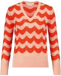 Marni V-neck Mohair-blend Sweater - Red