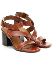 Chloé Candice Leather Sandals - Brown