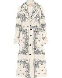 Tory Burch Paisley Cotton Poplin Trench Coat - White