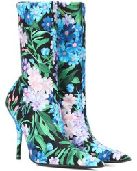Balenciaga Knife Floral-printed Ankle Boots - Blue