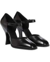The Row Mary Jane Leather Court Shoes - Black