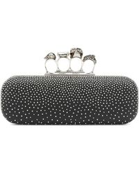 Alexander McQueen Four Ring Embellished Box Clutch - Black