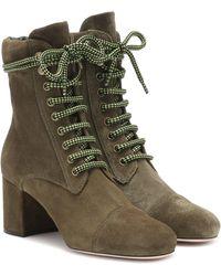 Miu Miu Suede Ankle Boots - Green
