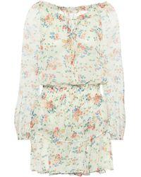 LoveShackFancy Popover Floral Silk Minidress - White