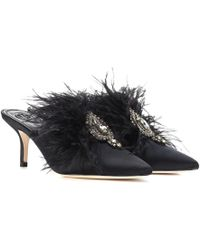 Tory Burch - Elodie Embellished Satin Mules - Lyst