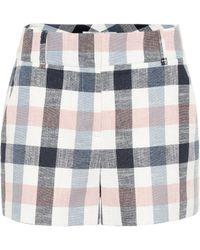 Veronica Beard Ilene Checked Cotton-blend Shorts - Blue