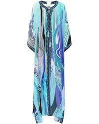 Camilla Cafetan long imprimé en soie - Bleu