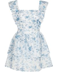 Sir. The Label Exclusive To Mytheresa – Clementine Cotton And Silk Minidress - Blue
