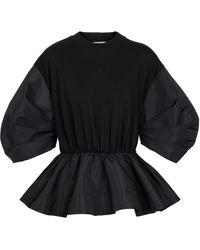 Alexander McQueen Cotton And Taffeta Sweatshirt - Black