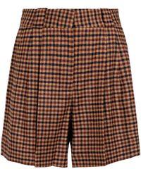 Blazé Milano Karierte High-Rise-Shorts aus Wolle - Braun