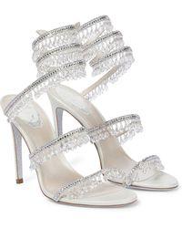 Rene Caovilla Chandelier Embellished Leather Sandals - Metallic