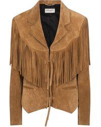 Saint Laurent Fringed Suede Jacket - Multicolour