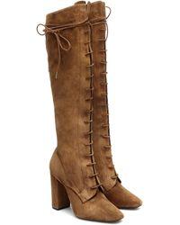 Saint Laurent Laura 100 Suede Knee-high Boots - Brown