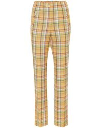 Rejina Pyo Norma Checked High-rise Trousers - Yellow
