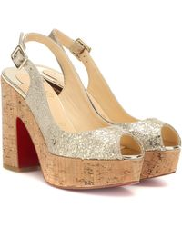 107d653554b Dona Anna Glitter Platform Sandals - Metallic