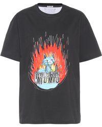 Miu Miu Bedrucktes T-Shirt aus Baumwolle - Schwarz