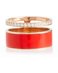 Repossi Berbere Chromatic Rose Gold Ring With Diamonds - Red