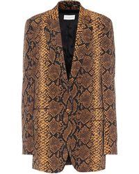 Dries Van Noten Blazer de lana con print de serpiente - Metálico