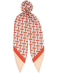 Burberry Printed Mulberry Silk-twill Hair Tie - Red