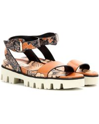 Valentino - Covered Printed Leather Sandals - Lyst