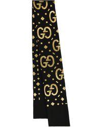 Gucci Bufanda GG en mezcla de seda fil coupé - Metálico