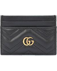 Gucci Porte-cartes En Cuir Matelassé Gg Marmont - Noir