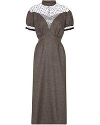 Maison Margiela Herringbone Wool Midi Dress - Brown
