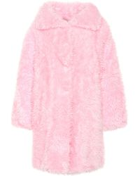 Balenciaga Swing Faux Fur Coat - Pink