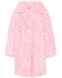 Balenciaga Mantel Swing aus Faux Fur - Pink